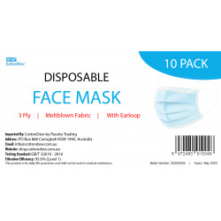 3 Ply Disposable Face Masks 10 Pack
